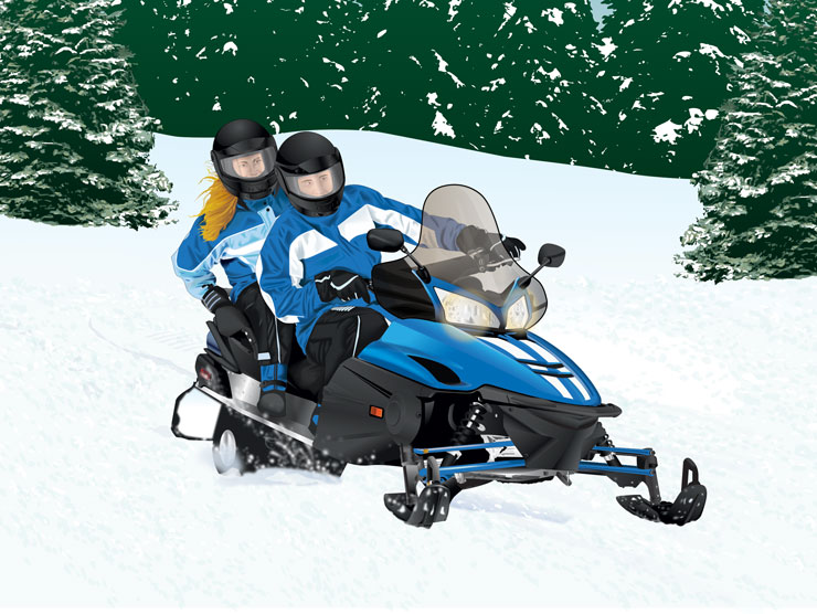 Couple riding on a snowmobile
