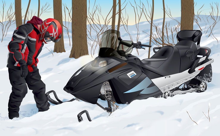 Snowmobile stuck in snow