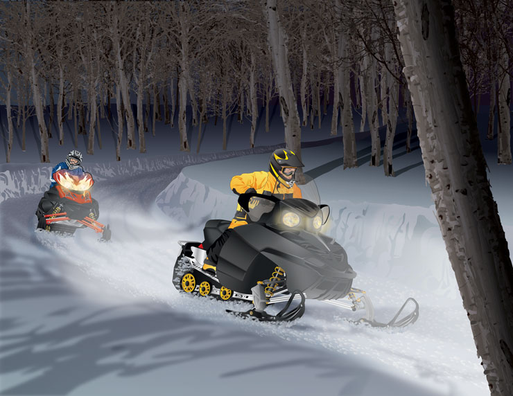 Snowmobilers riding in the night