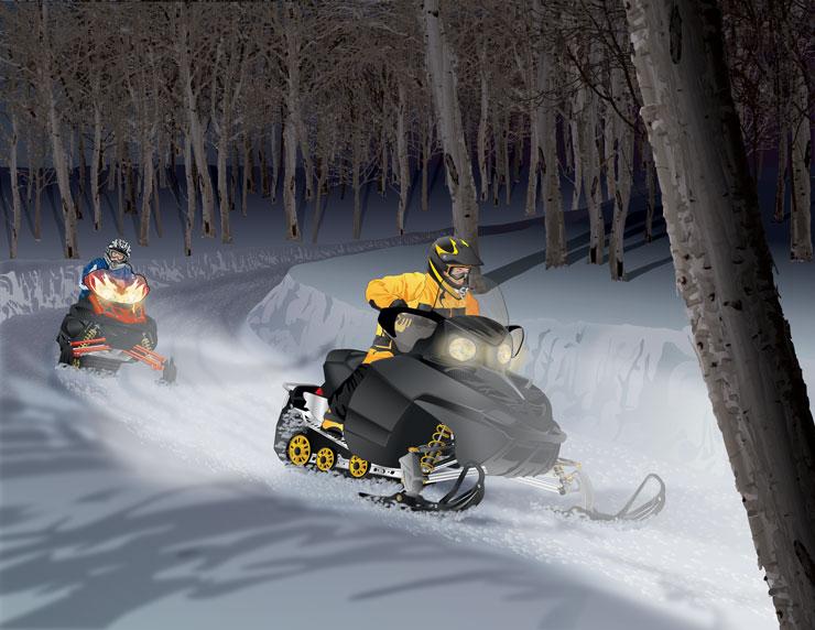 Snowmobile Night Riding
