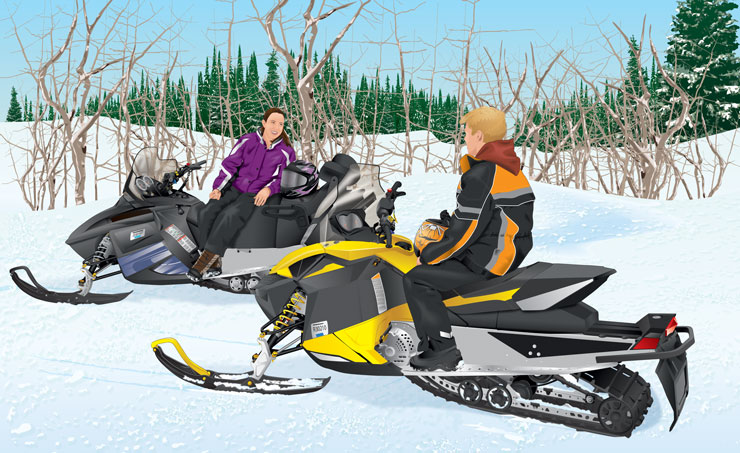 Snowmobilers taking break