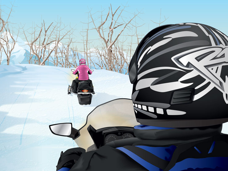Snowmobilers demonstrating buddy system