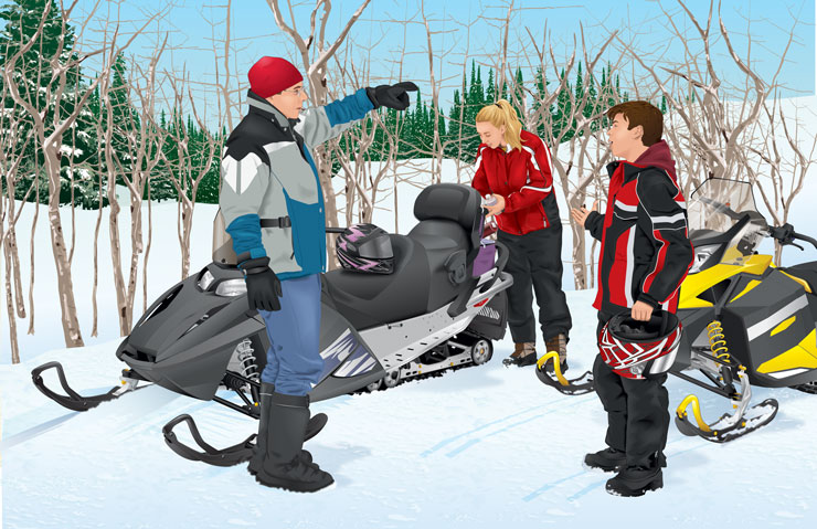 People gathered around snowmobiles