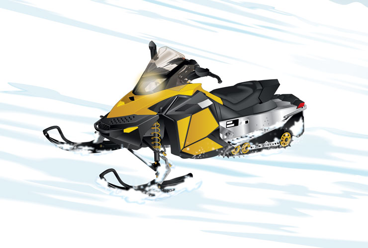 Snowmobile on hill