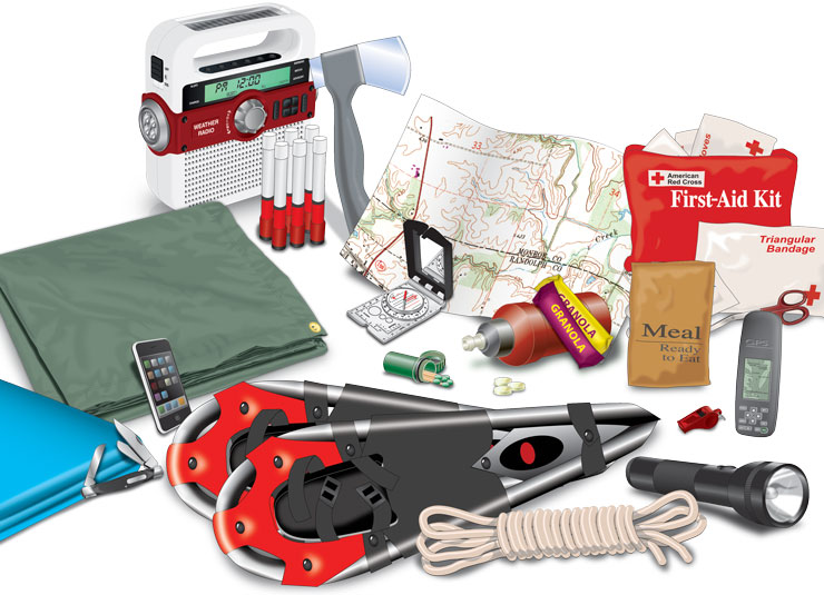 Cell phone, first-aid kit, flashlight, granola bars, ready-to-eat meal, rope, mobile phone, plastic whistle, map, compass, medicines, flares, radio, tarpaulin, Swiss knife, hand axe, scissors, triangular bandage, blanket