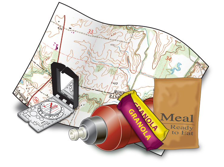 Map, compass, granola bars, ready-to-eat meal, bottle