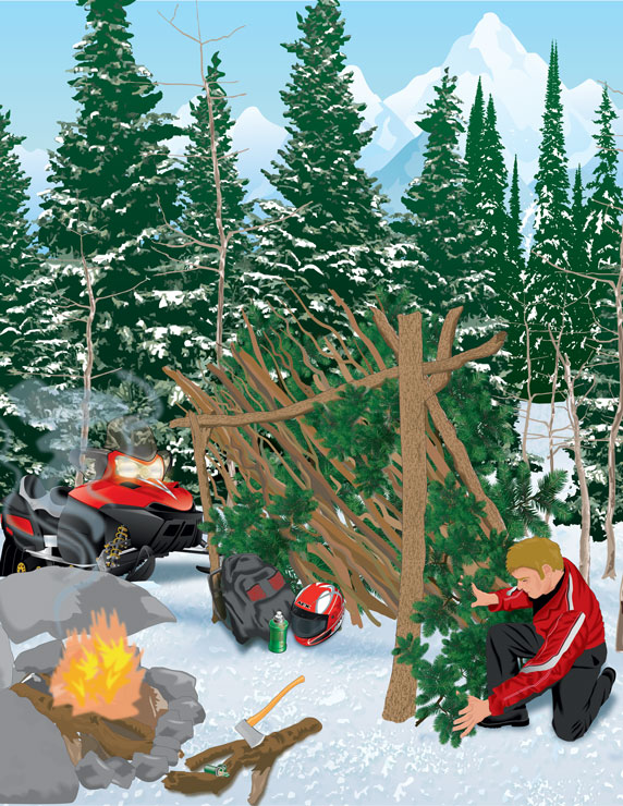 Snowmobiler building a shelter