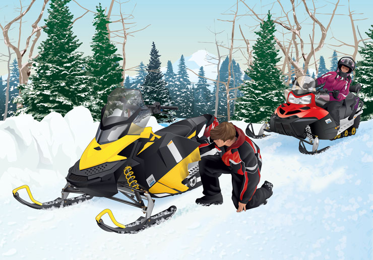 Snowmobiler checking engine while other snowmobiler is behind him