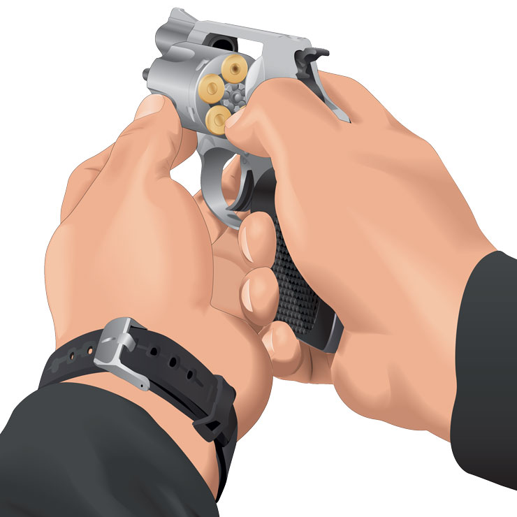 Removing a cartridge from a handgun
