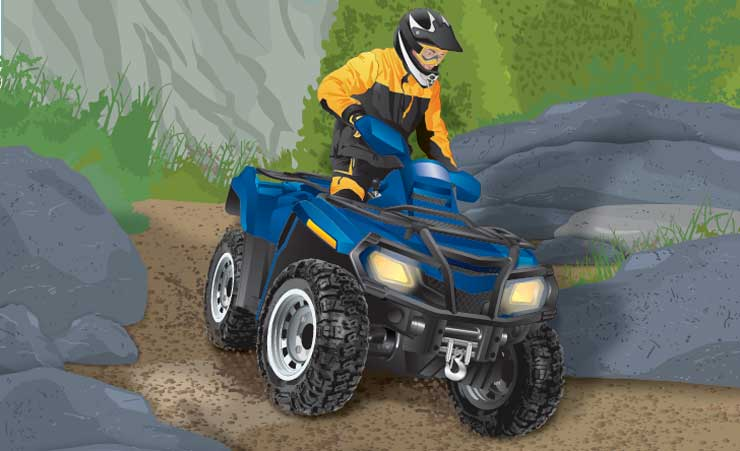 ATV riding up a rocky slope