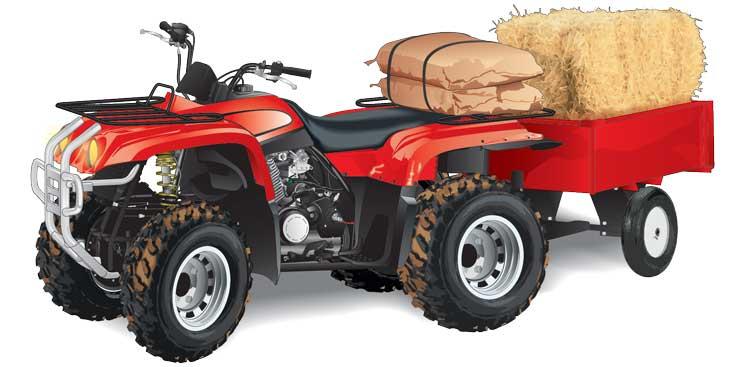 ATV hauling cattle feed