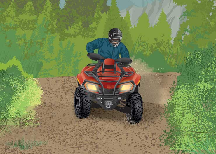 Man riding an ATV