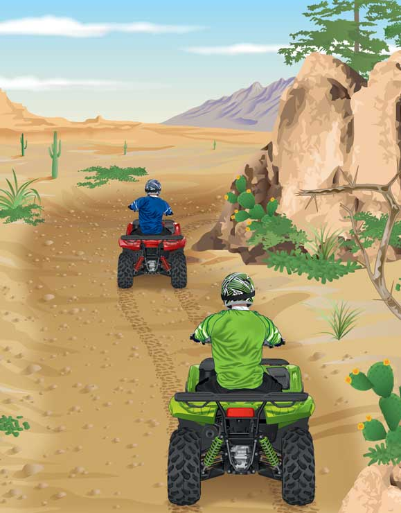 ATVs riding in single file on a trail