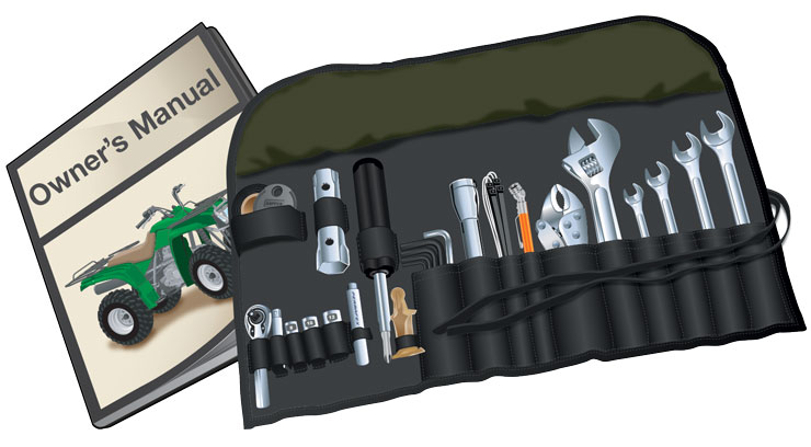 Safety equipment tool kit and ORV owner's manual