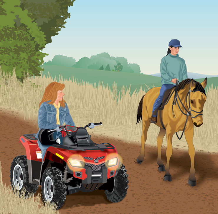 ATV rider watching a horse pass on the trail