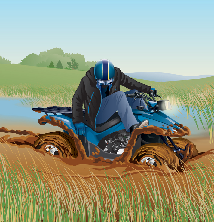 ATV rider stranded in a remote area