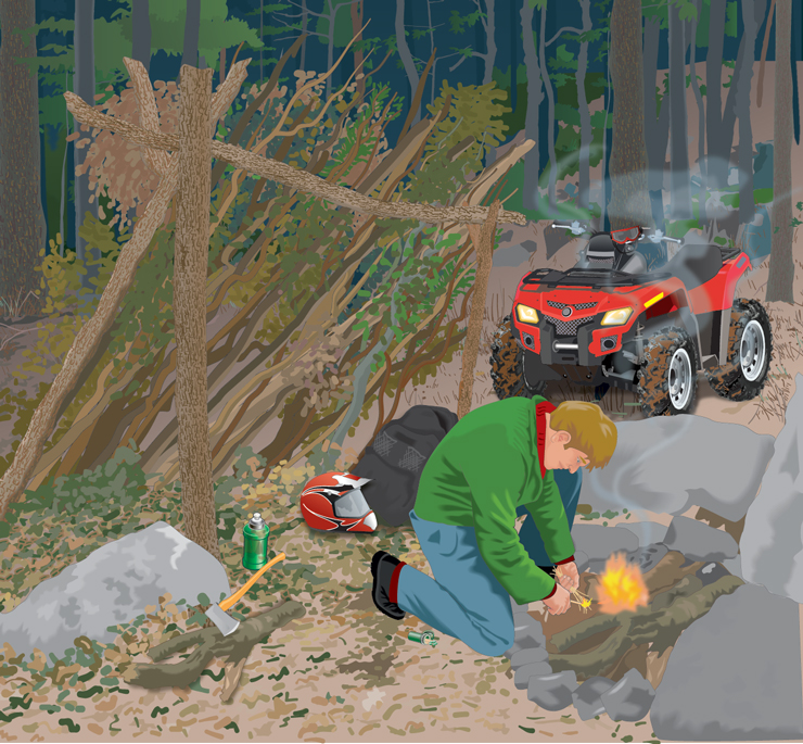 ATV rider starting a fire near his lean-to shelter