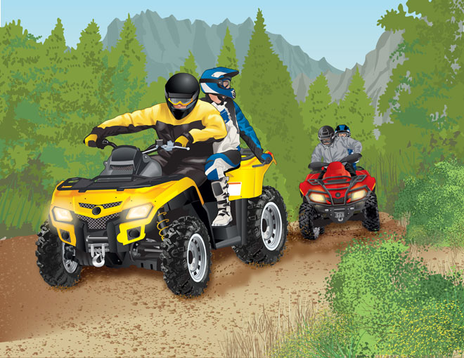 Riding an ATV in mountainous terrain