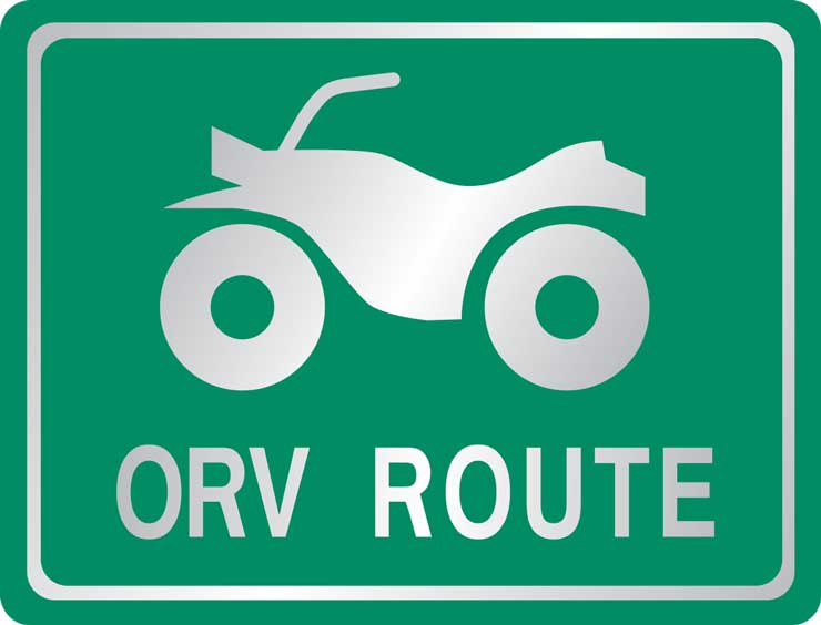Sign for routes permitting OHV travel