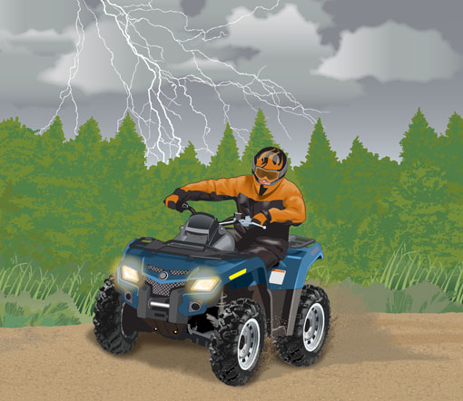 Lightning seen in the distance behind an ATV rider on a trail