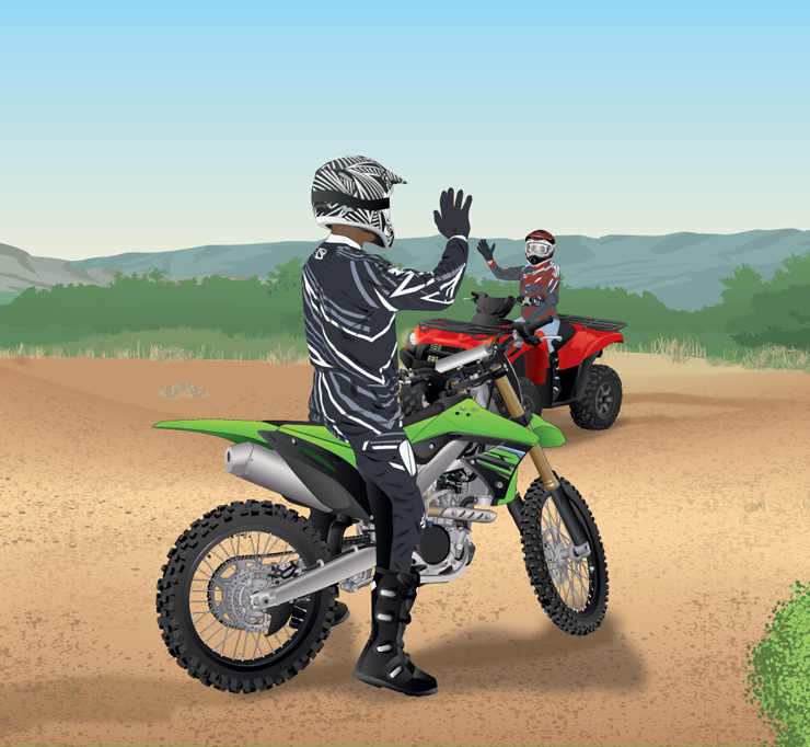 OHM rider and ATV rider making themselves visible to each other on a trail