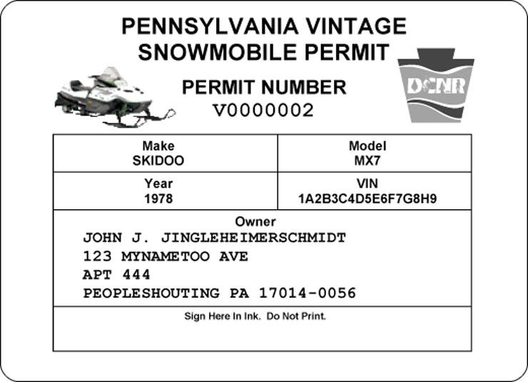 Vintage snowmobile permit