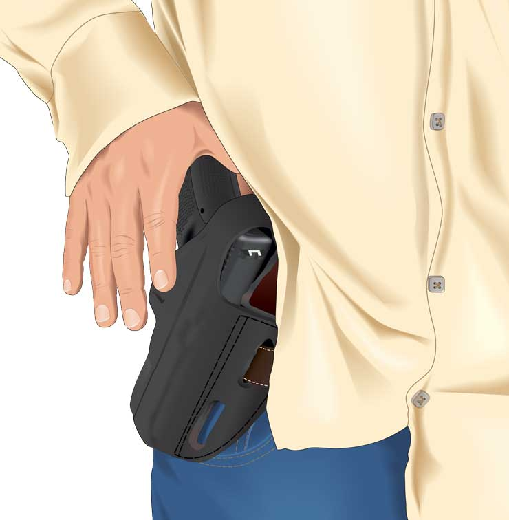 A concealed handgun being revealed