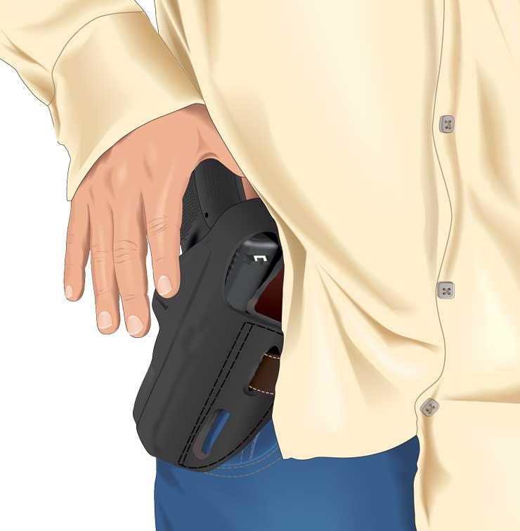 A concealed handgun being revealed
