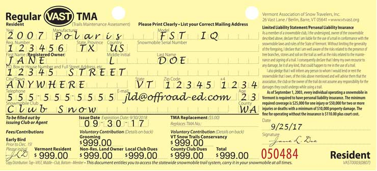 TMA application receipt