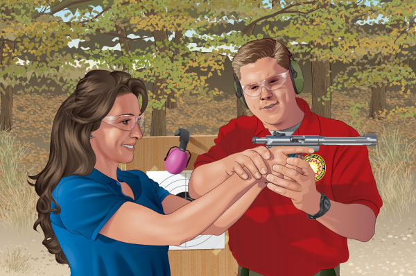 An instructor helping a person  with her handgun