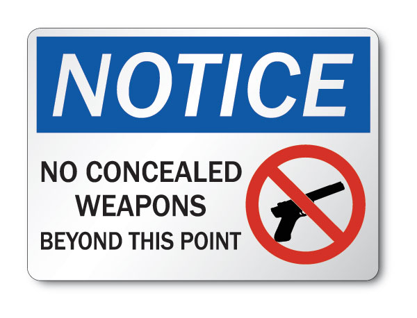 Concealed carry prohibited sign