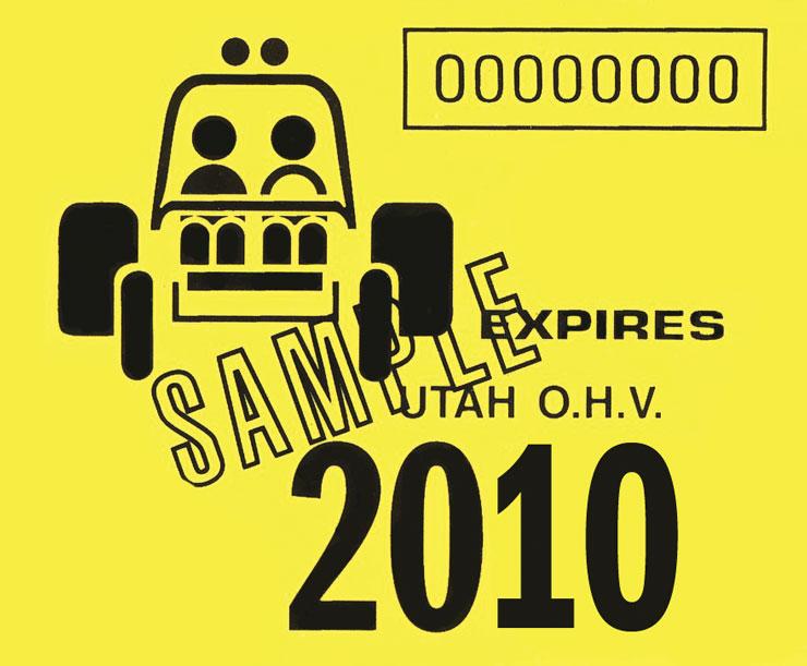 Utah OHV–Registration decal