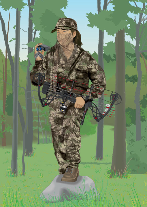 Bowhunter in camouflage gear