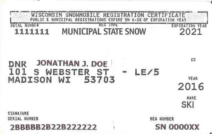 Wisconsin snowmobile registration certificate