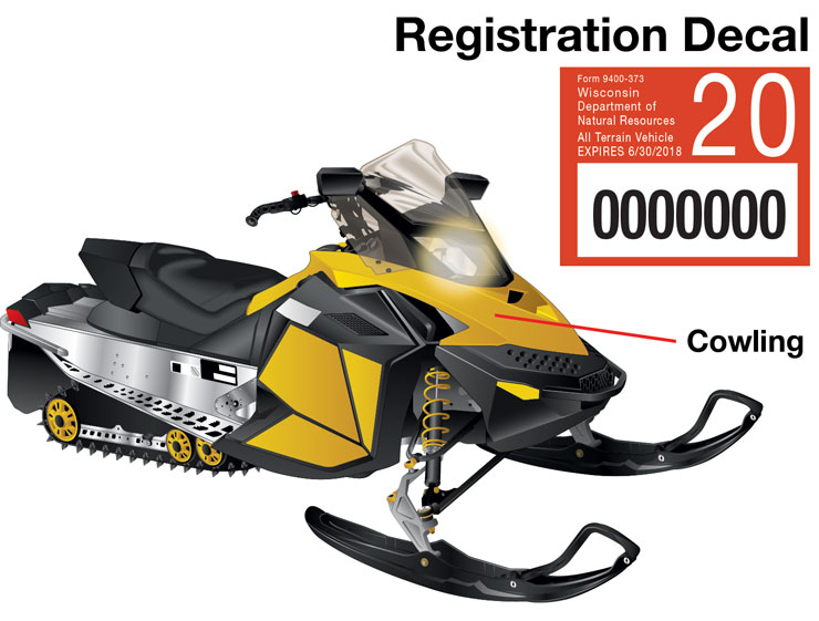 Wisconsin snowmobile–Decal location
