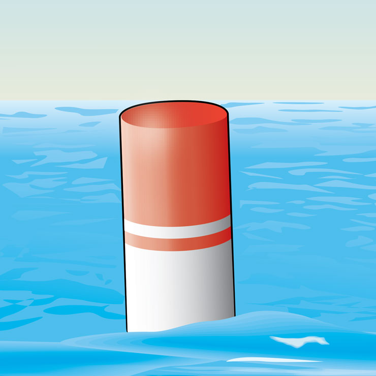 White With Red Top Buoy