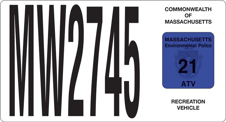 Massachusetts registration decal left