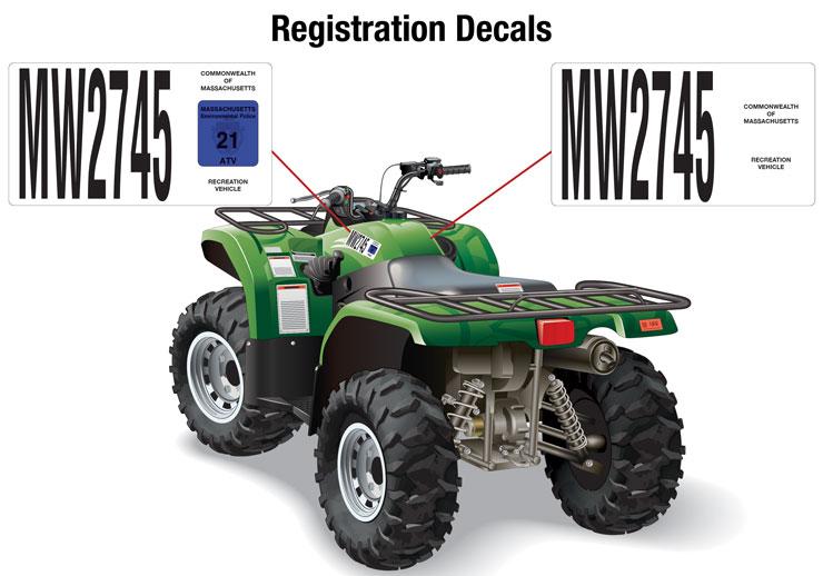 Massachusetts registration decals on an ATV