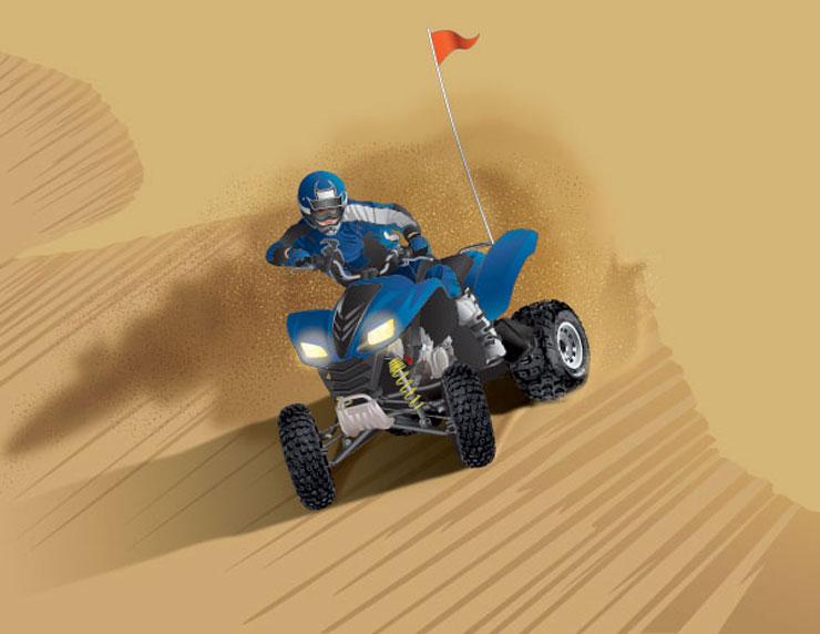 ATV with whip flag on a sand dune
