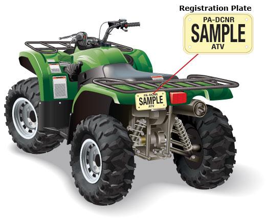 Pennsylvania registration plate. on an ATV