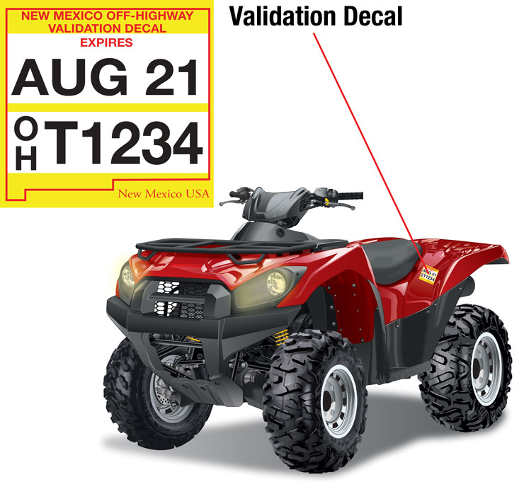 New Mexico validation decal on an ATV