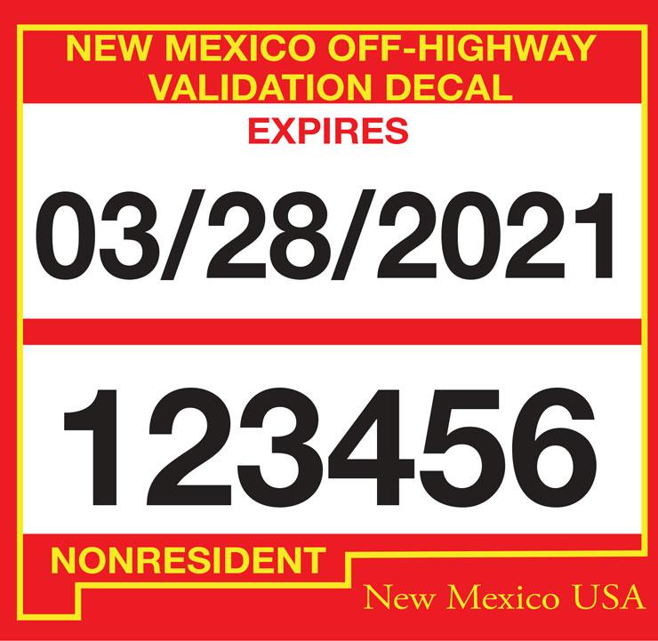 OHV/ATV non-resident user permit in New Mexico