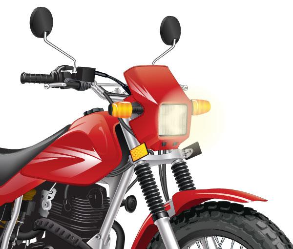 Off-highway motorcycle headlight