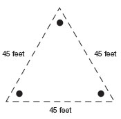 Equilateral triangle with 45-foot-long sides