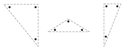 Three different variations of triangles for practicing sharp turns