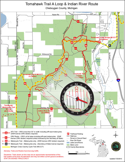 Map showing an ORV trail in  Michigan