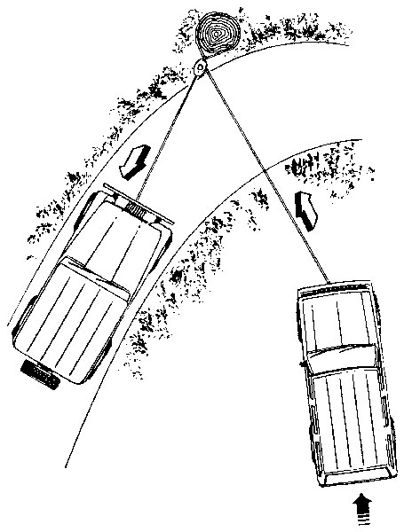 ORV pulling another ORV back onto the road using a tree, tree strap, and pulley