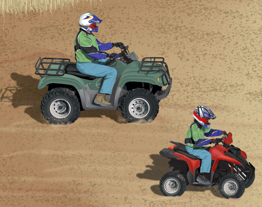 Parent and child riding ORVs