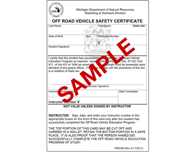 Michigan Off Road Vehicle Safety Certificate