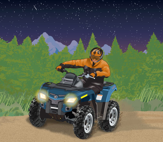 Riding an ATV at night